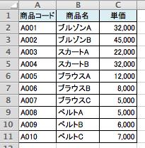 Excelの商品一覧